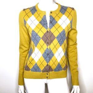 J Crew yellow ochre argyle wool cardigan sweater